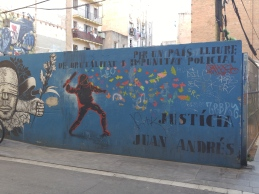 "A mural where an man named Juan Andrés Benitez was shot by police. It says ""For a country free from police brutality and impunity"""